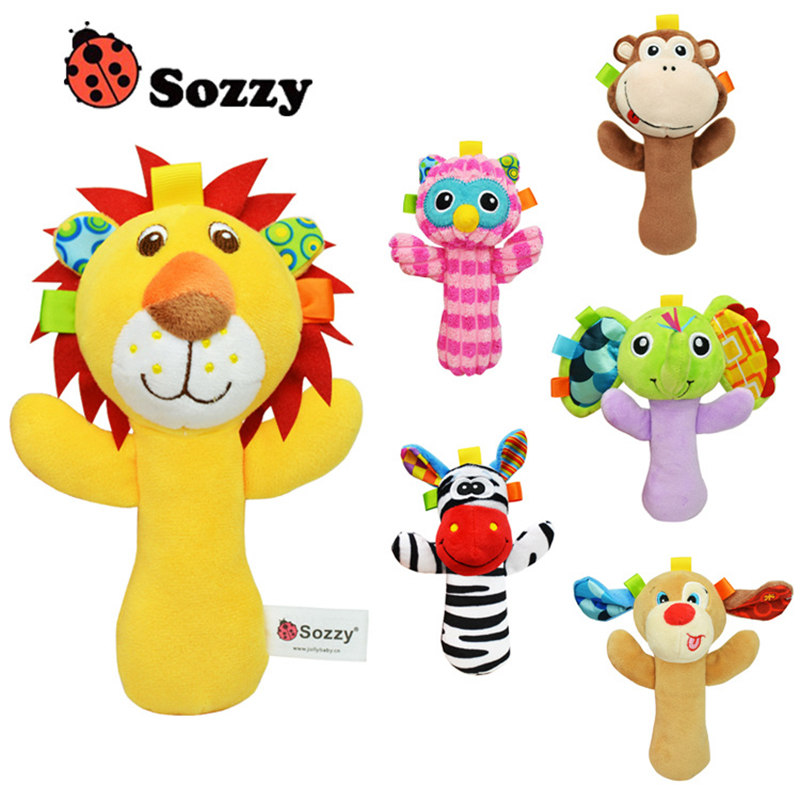 0 3 Year old Baby Kids Cute Animal Plush Rattles Hand Bells multifunctional toys Educational Funny
