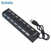 7 портов USB 2,0 концентратор высокоскоростной кабель питания с светодиодный светильник Индикатор ВКЛ/ВЫКЛ переключатель адаптер для ПК настольный ноутбук