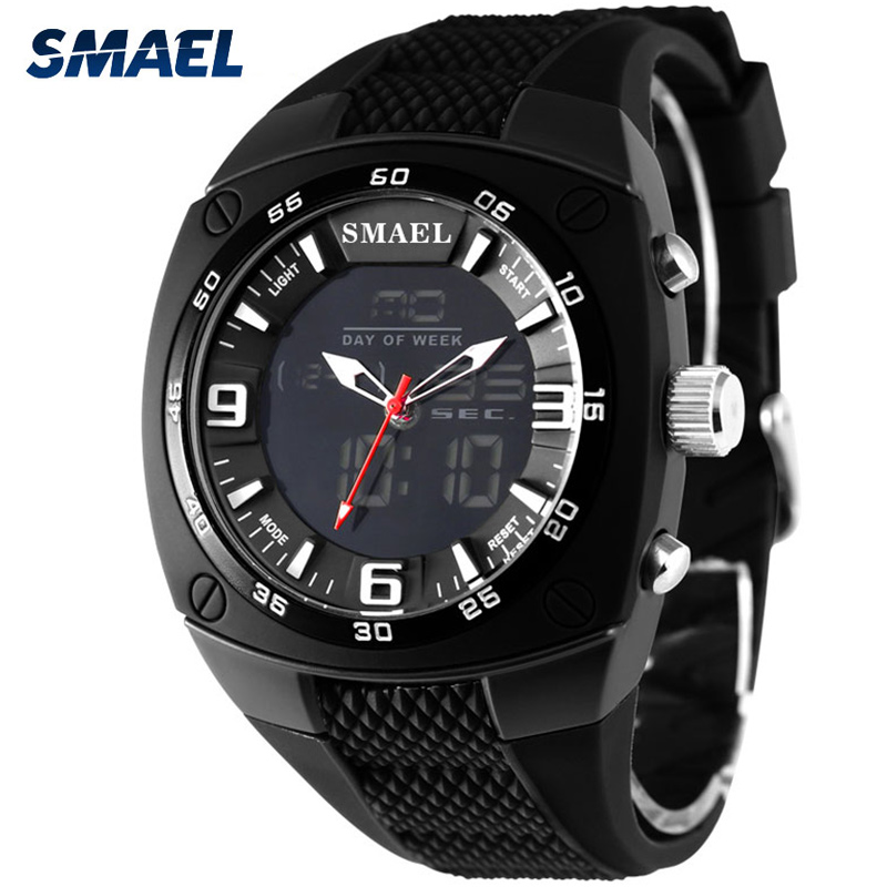 SMAEL Sports Watches Men Fashion Quartz Military Watch Man 50M Waterproof Digital Dual Time Wristwatches Male Relogio Masculino weide men sports watches waterproof military quartz digital watch alarm stopwatch dual time zones wristwatch relogios masculinos