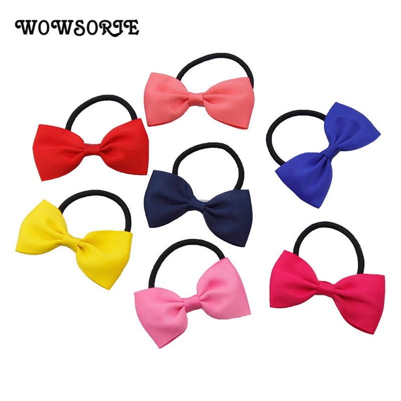 2018 Children Headband Solid Ribbon Girls Hair Accessories Elastic Hair Rope Rubber Bow-Knot Headbands Holiday Colorful