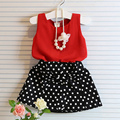 2Pc Kids Baby Girl T-shirt +Cotton Bownot Skirt Set Children Red Tops Outfit Clothes