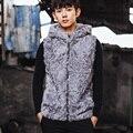 VR065 genuino de los hombres de piel de oveja real chaleco chalecos invierno de lana real de una chaqueta de piel/chaquetas