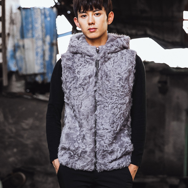 VR065 men's genuine real sheep fur vest vests winter warm real wool one fur jacket /jackets