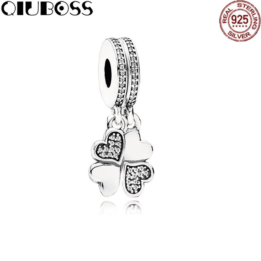 QIUBOSS 925 Sterling Silver 791949CZ HEART PETALS HANGING CHARM Original Women Wedding Fashion Jewelry