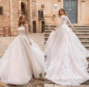 Image 3 - Robe De mariée en dentelle à manches longues ligne A, robe De mariée élégante avec boutons détachables au dos, robe De mariée