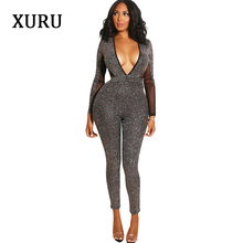 XURU new womens autumn and winter jumpsuit open back shiny long-sleeved sexy club party trousers