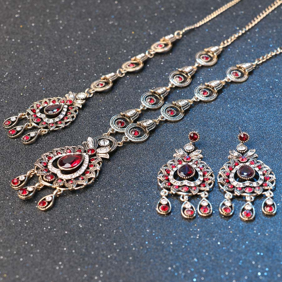 Charm India Vintage Look Set Perhiasan Liontin Kalung Anting-anting - Perhiasan fesyen - Foto 6