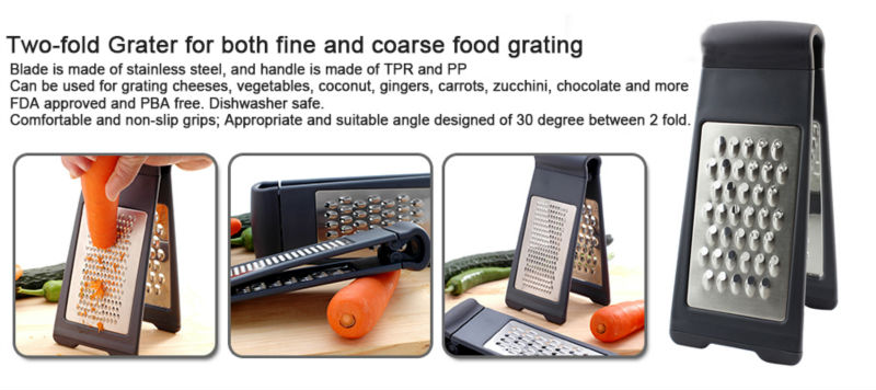 Two-fold Grater for both fine and coarse food grating