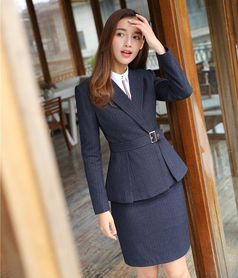 a52f36b9c486 Uniformi Fibra Il Da Donna Wear Signore Gonna Lavoro Styles Alta Disegni  Nero blu In Abiti formale Di Ufficio Blazer Set ...