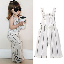 Fashion Toddler Kids Baby Girls Clothes Striped Sleeveless Backless Jumpsuit Playsuit Overalls Summer Outfits