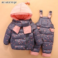 2019 Children Down Clothing Sets 2 PCS Coat + Trousers Winter Kids clothes Down jacket Suits Boys & Girls Hooded Outerwear Suit