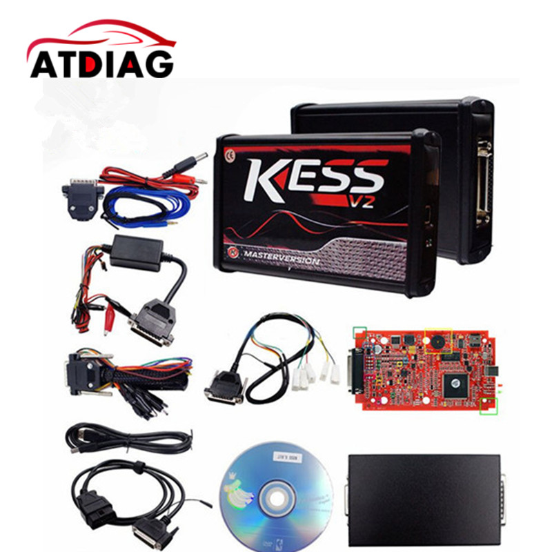 DHL Free 100% No Tokens RED KESS V2 V5.017 V2.23 ECU Chip Tuning EU Master Online KESS V2 5.017 Manager Tuning Kit For Car Truck 2017 newest ktag v2 13 firmware v6 070 ecu multi languages programming tool ktag master version no tokens limited free shipping