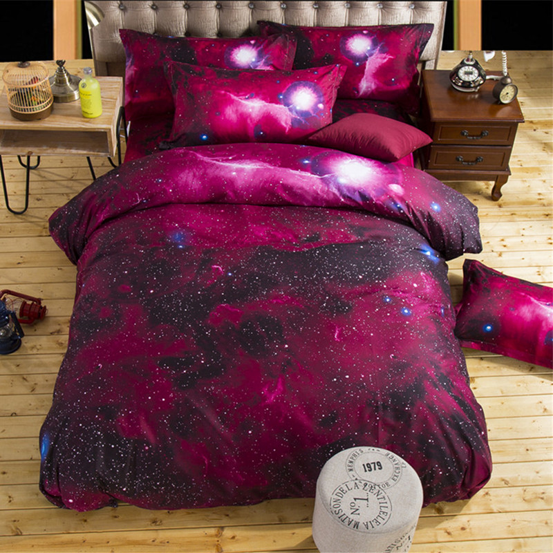 Red Galaxy 3D Bedding Sets Fantasy Modern Bedclothes Sanding Duvet Cover Sets Twin Full Size XF102-1