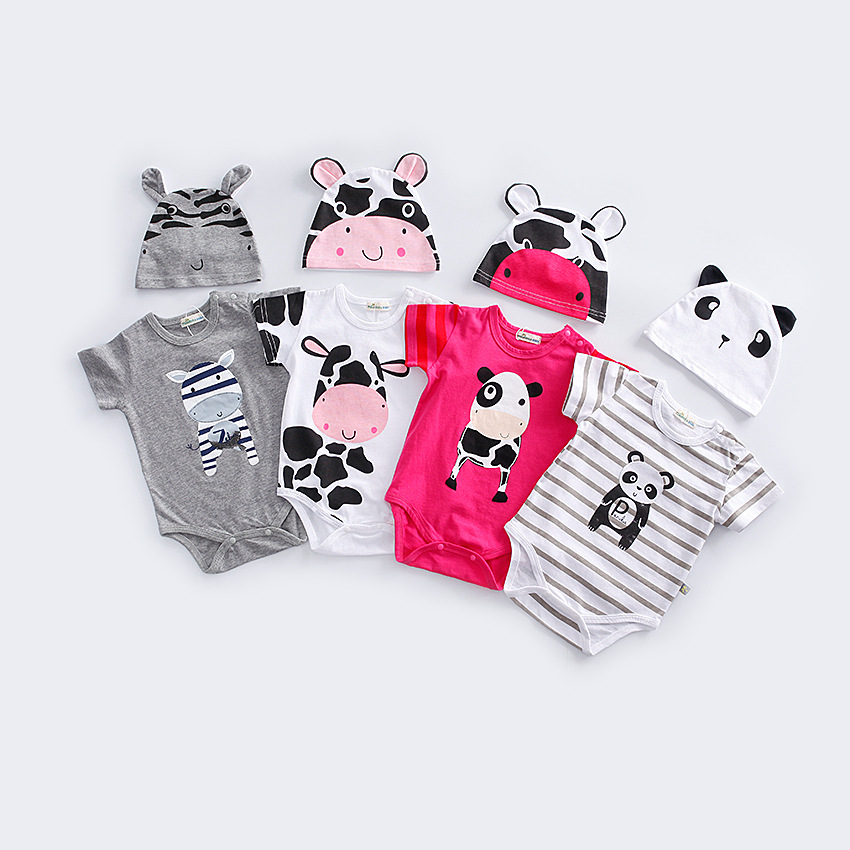 2Pcs/Set Cute Animal Cow Newborn Clothing Baby Bodysuits+Hat Cotton Baby Boys Girls Clothes Sets Jumpsuit Roupas Baby's Sets 2 pcs lot newborn baby girls clothing set cute pink cotton baby rompers boys jumpsuit roupas de infantil overalls coveralls