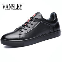 Big Size Flats Shoes High Quality Genuine Leather Black Spring Winter Men Casual Shoes Male Shoes