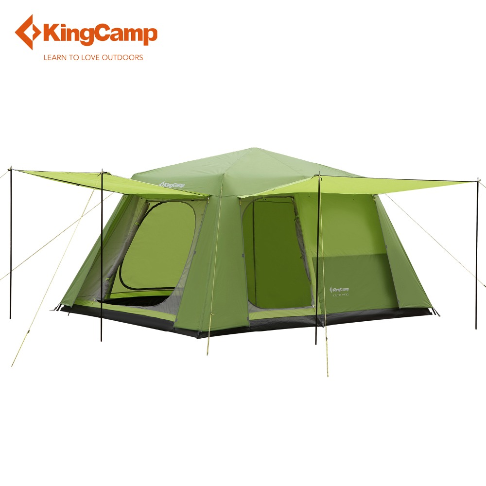KingCamp 8-persons tent 2-rooms Family ROOMY Durable Quick-up Outdoor Tent 3-seasons camping tent 396*275*198 cm outdoor camping hiking automatic camping tent 4person double layer family tent sun shelter gazebo beach tent awning tourist tent