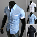Новый 2016 летом британский рубашки люди подходит мужчина короткие рукава рубашки мужская одежда тонкий свободного покроя рубашки 3 Coloe 4 размер M-XXL