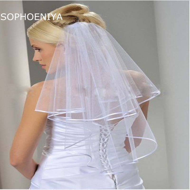 New Arrival White Ivory Bridal Veil 2020 Ribbon Edge Wedding Accessories Veu De Noiva Cheap Wedding Veil Veu Voile Mariage