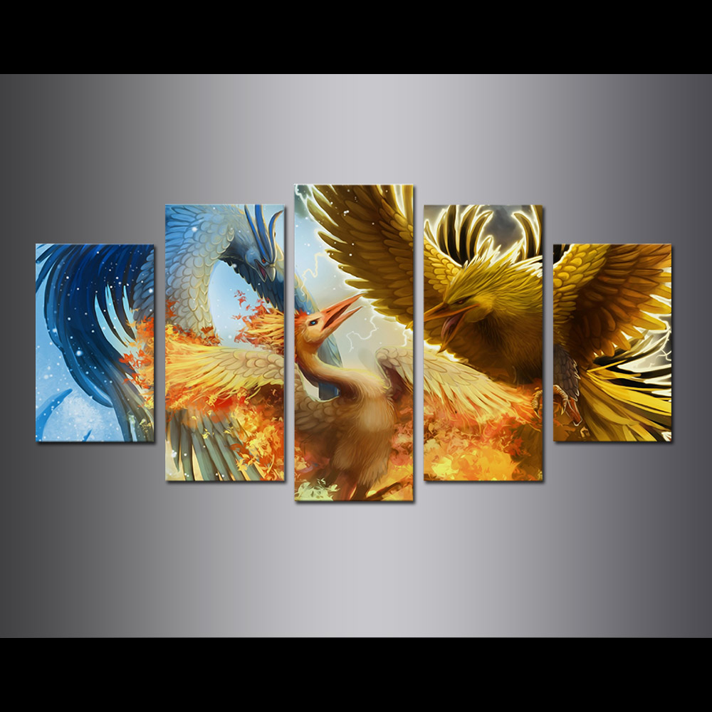 Unframed Canvas Painting Animation 3 Phoenix Birds Modular Picture Prints Pictures For Living Room Wall Art Decoration