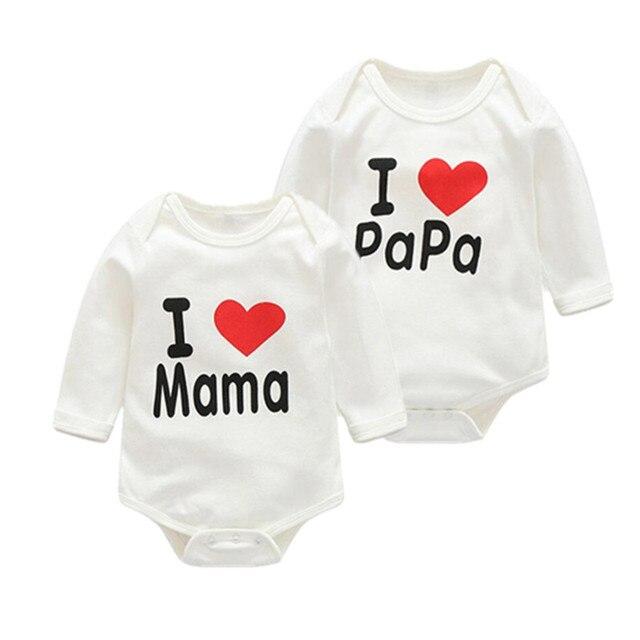 36330337719cdd Summen wiosna 100% bawełna kocham mama papa ubrania dla dzieci chłopcy  dziewczyny tanie odzież dla
