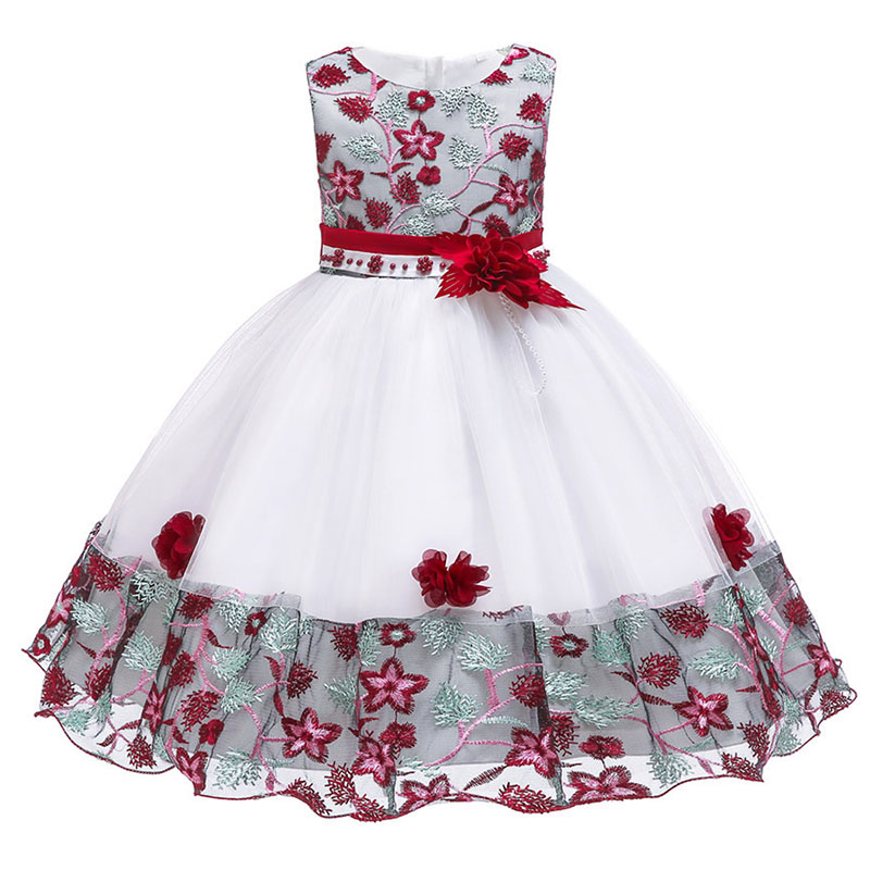 2019 Pageant   dresses     flower     girl     dresses   embroidery mesh   girl     dresses   for weddings kids children's clothing baby costume L5045