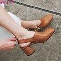 QUTAA 2017 Женщин Насосы Летние Дамы Обуви Квадратных Высокий Каблук Slingback Квадратный Носок Мода Черная Женщина Свадебные Туфли Размер 34-39
