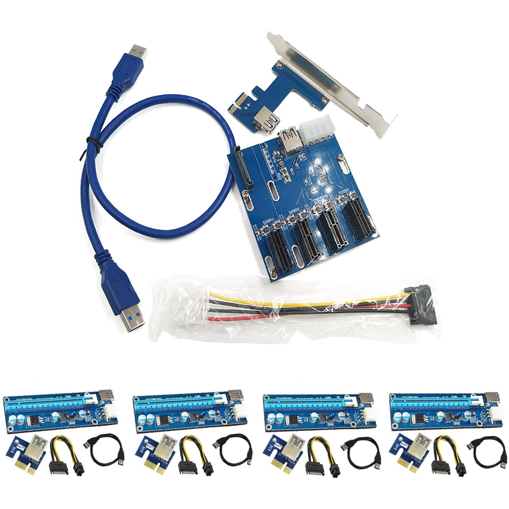 4 Set USB3.0 PCI-E Express 1x to 16x Extender Riser Card Adapter SATA 6Pin Power Cable with 1 Set PCIe 1 to 4 PCI Expres QJY99 кабель orient c391 pci express video 2x4pin 6pin