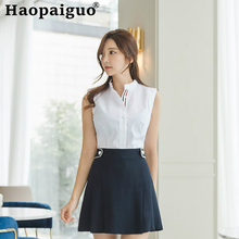 2019 Summer Two Pieces Set Korean Style Sleeveless White Shirt and Corset A-line Mini Skirt Women OL Office Work 2 set