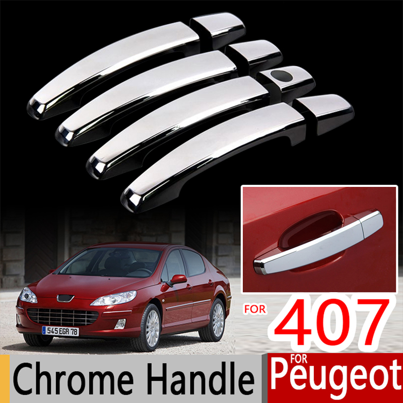 For Peugeot 407 Chrome Handle Covers Trim Set for Coupe 407SW 2004-2010 Car Accessories Stickers Car Styling 2005 2006 2008 2009 for kia spectra 2004 2009 cerato chrome trim exterior door handle covers 2005 2006 2007 2008 accessories stickers car styling
