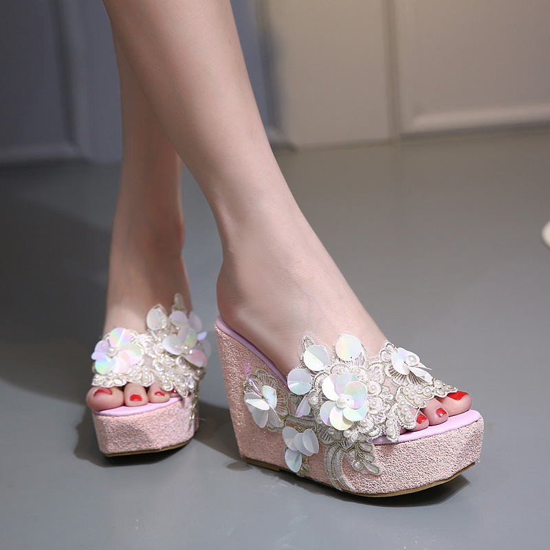 E TOY WORD Summer flowers Platform Wedges women slippers fashion High Heels bohemian national style women Shoes in Slippers from Shoes