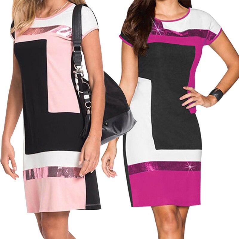 Women Fashion Sexy Bodycon Dress Vestidos Geometrical Patchwork Contrast Color Short Sleeve O-neck Pencil Dress S-XL