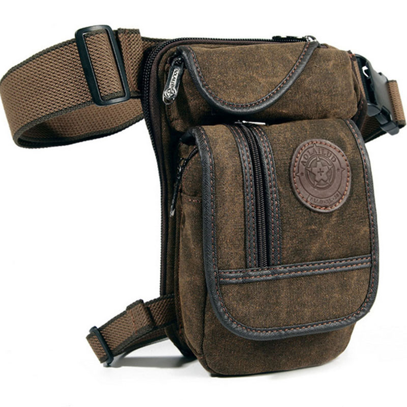 Mænds Canvas Retro Drop Leg Bag Talje Fanny Pack Lår Hip Bum Belt Militær Vandring Motorcykel Cross Body Messenger Skuldertaske
