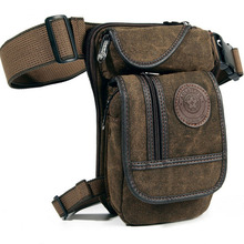 New  Men's  Canvas Hip Belt Bum Fanny Pack Waist Thigh Leg Drop Bag Tactical Military  Riding Motorcycle  Messenger Shoulder Bag недорого