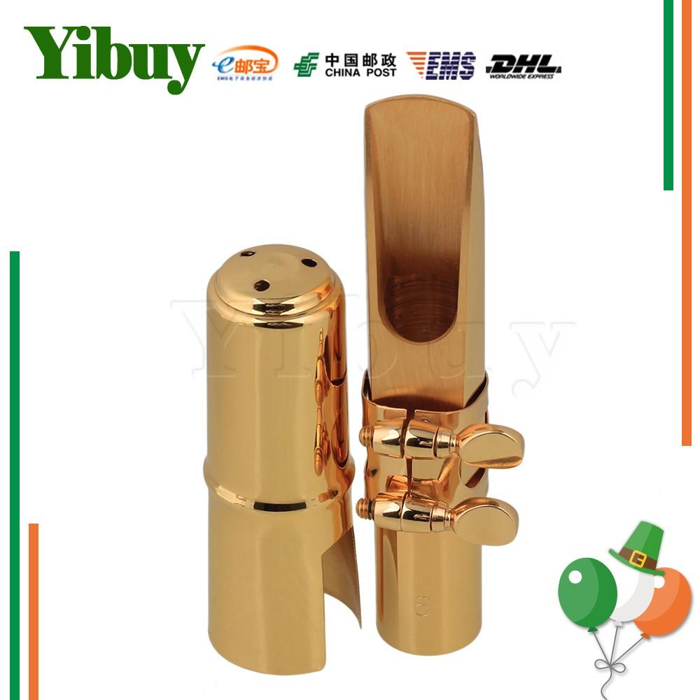 Yibuy Tenor Saxophone Sax Mouthpiece Cap Ligature Gold ափսե 6 # Լավ ձայն