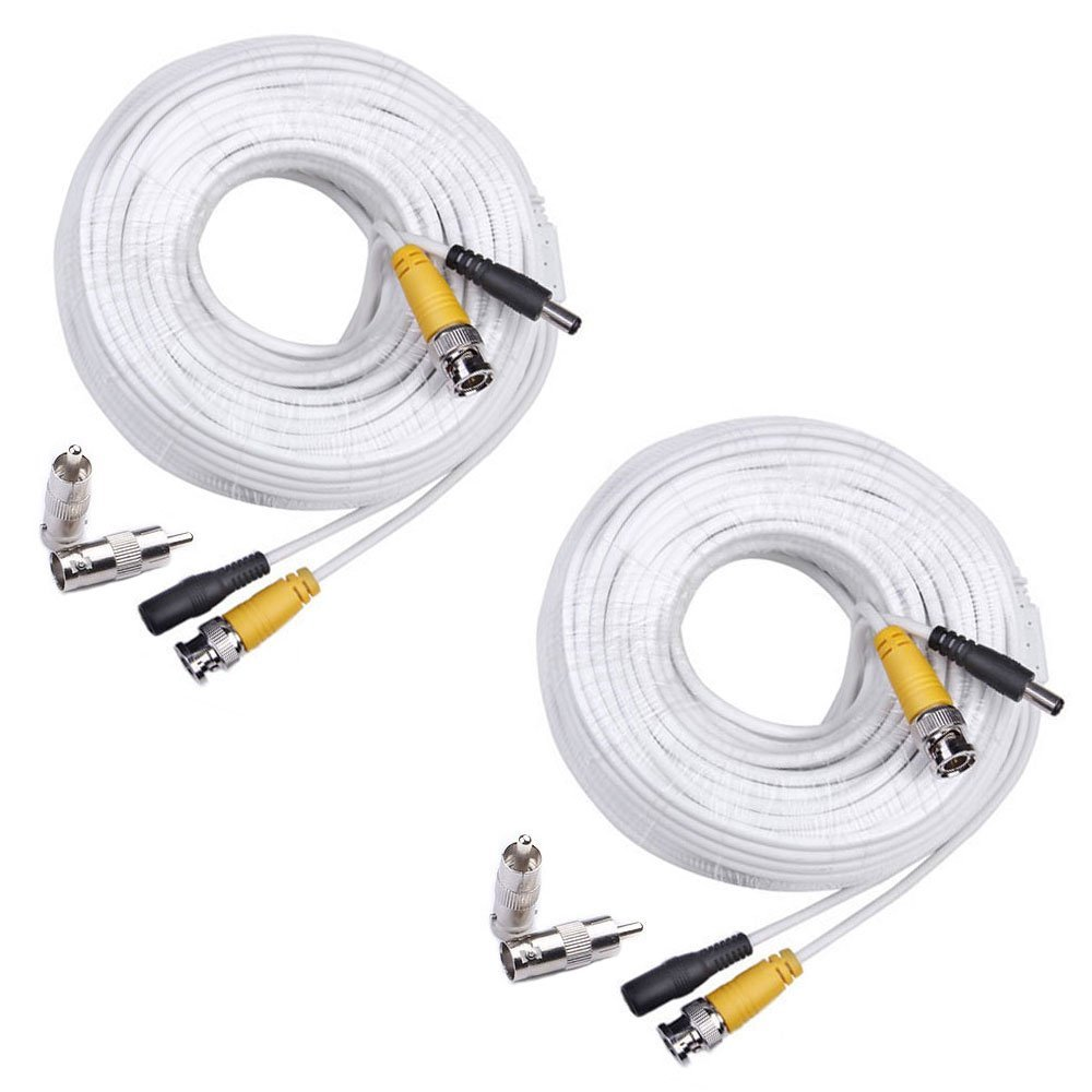 MOOL 100 Feet Pre-made Siamese BNC Video and Power Cable Ready To Go for Security Camera CCTV Systems bnc video power siamese cable bnc