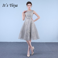 It's YiiYa Illusion Gray O Neck Sleeveless Embroidery Lace Zipper Cocktail Gowns Knee Length Ball Gown Formal Dress LX476