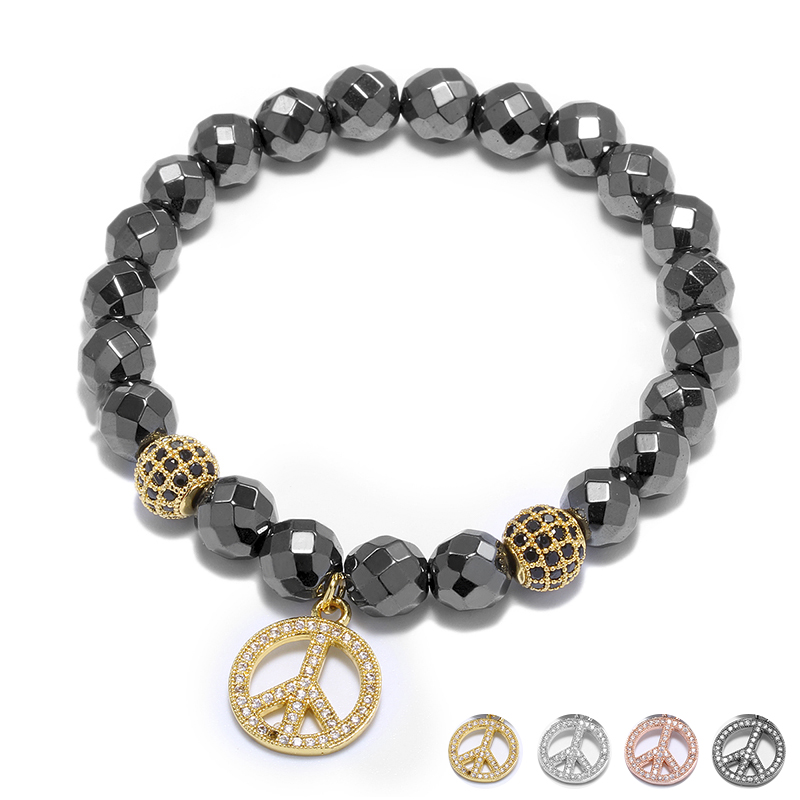 Crystal Ball Peace Design Plate Charm Pendant Men Bracelet Hand Fashion Jewelry Faced Beads Strand Bracelet Accessories