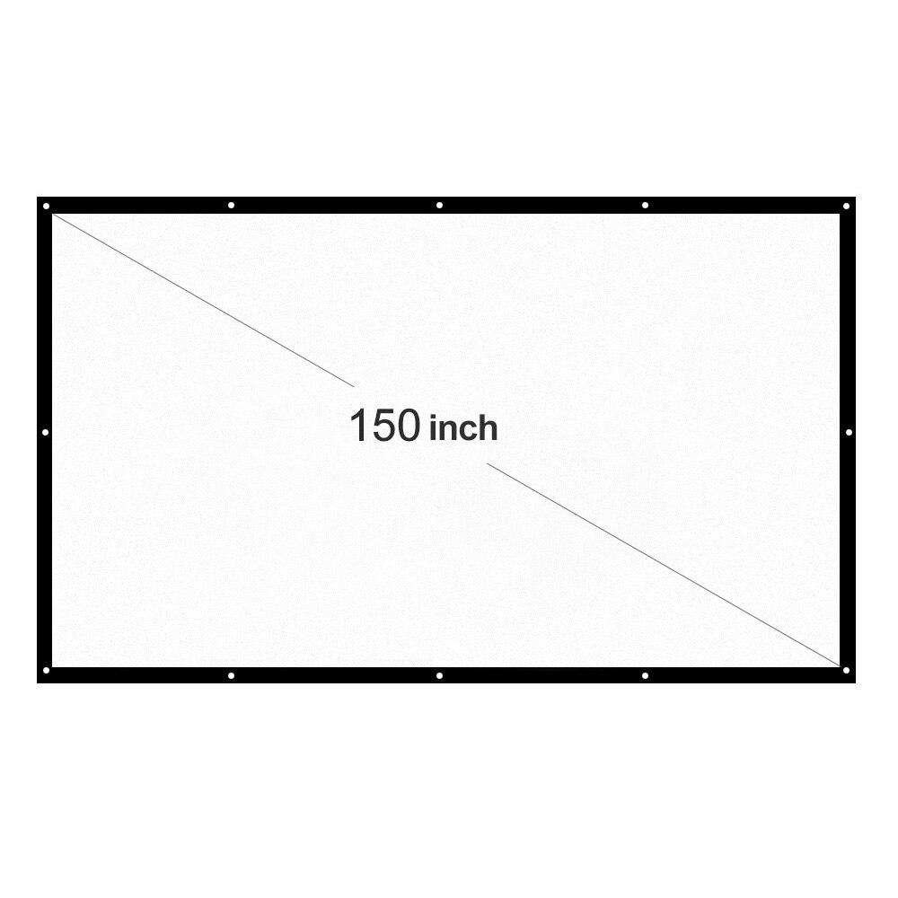 H150 150'' Portable Projector Screen HD 16:9 White Dacron