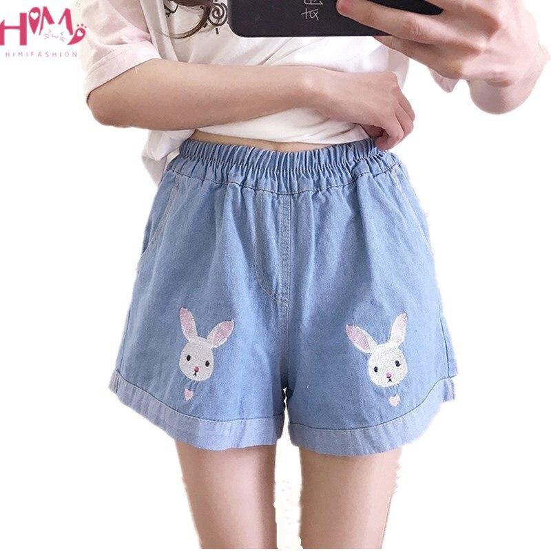Summer Mori Girl Cute Rabbit Women's Shorts Jean Vintage Embroidery Bunny Cartoon Casual Teenager Boho Denim Wide Leg Shorts