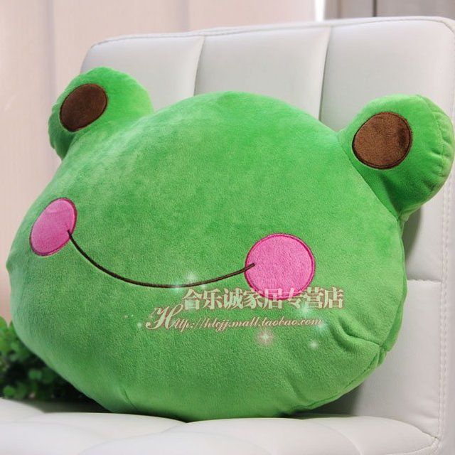 Large mung bean frog frog pillow pillow car decorative plush toy doll birthday gift 40CM