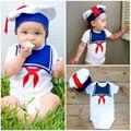 Bonito Chapéu Bebê Recém-nascido Meninos Meninas Bodysuit Mangas Curtas Macacão Sunsuit Marinheiro Outfits 0-18 M