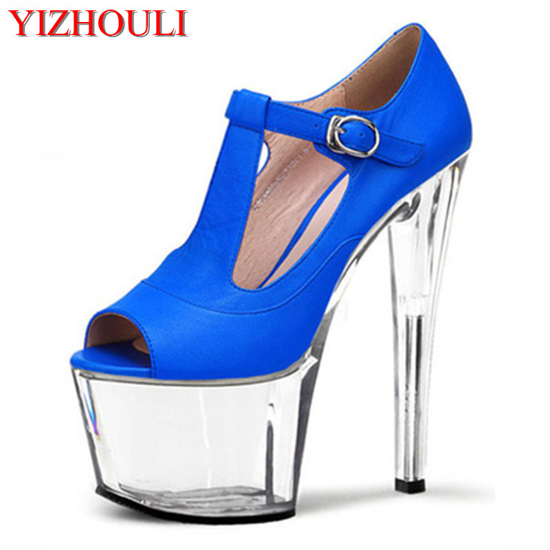 17 cm high heels, American and European club shoes with big mouth size, sky-high high heels, banquet women's shoes