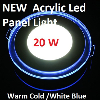 3D Effect 20W Glass Acrylic Round LED Panel Light Warm Cool White LED Ceiling Downlight Blue Border Ceiling Lamp Foyer Kitchen