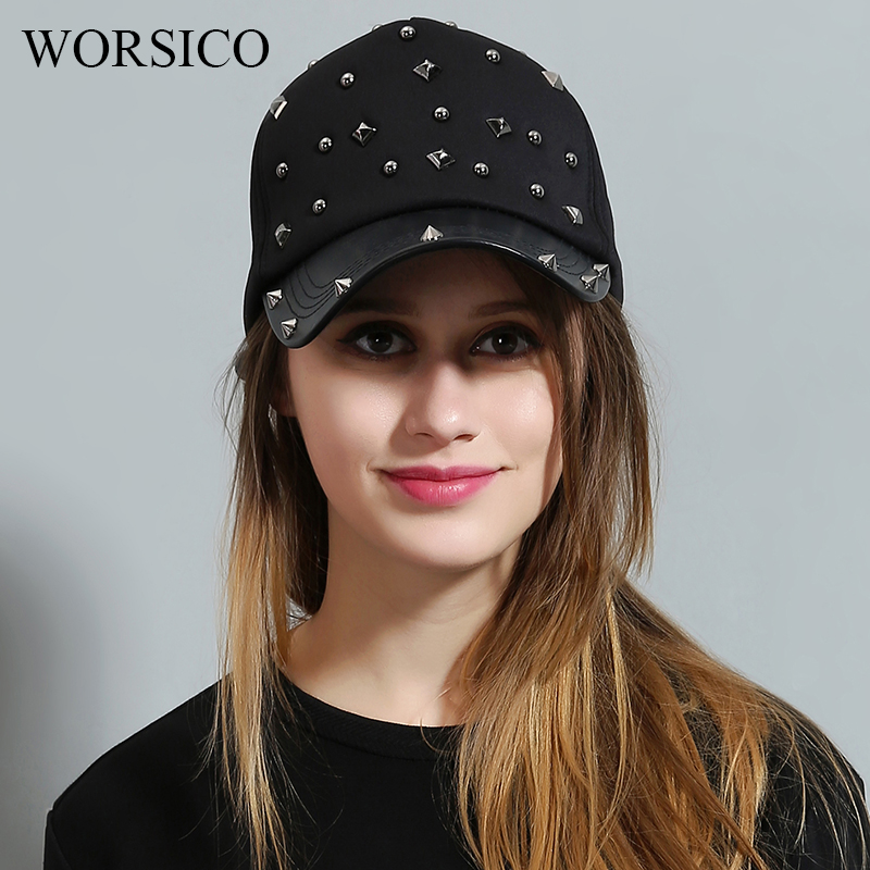 [WORSICO] Design Rivet Cotton Baseball Cap Women Luxury Brand Leather Snapback Cap for Women Black Novelty Motorcycle Cap hats