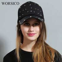 WORSICO Design Rivet Cotton Baseball Cap Women Luxury Brand Leather Snapback Cap For Women Black