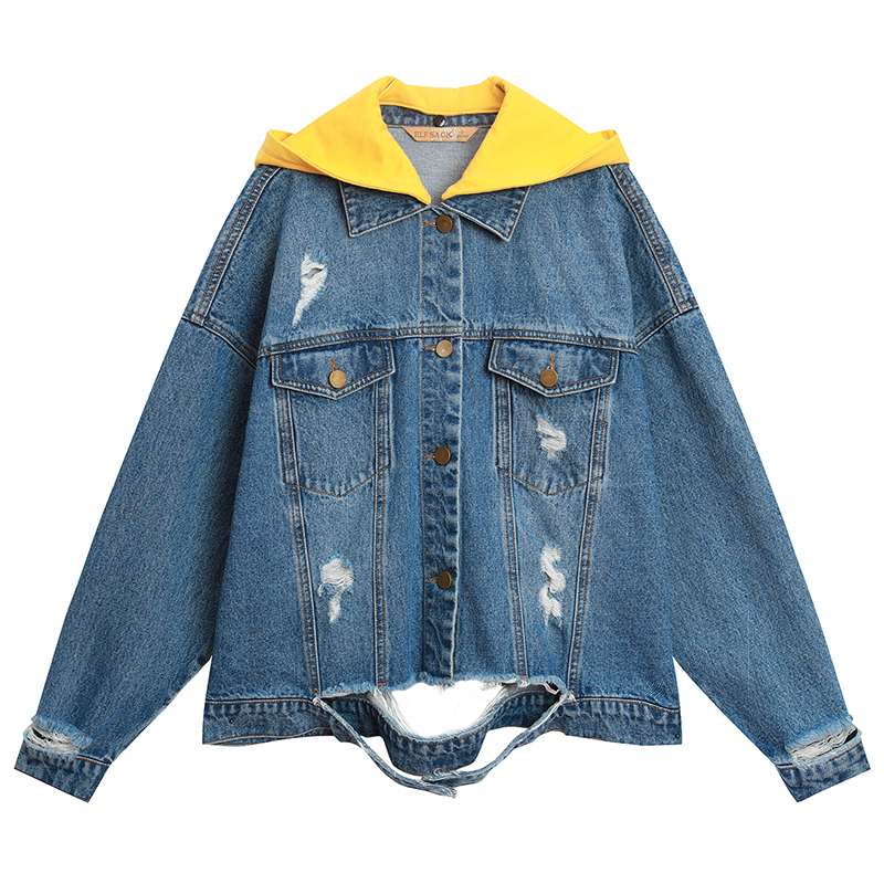 ELFSACK 2019 New Spring Woman Coats Cotton Solid Stand Outerwear Print Women Jackets Single Breasted Casual Denim Femme Coats