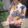 Женщины моды симпатичные животные печати блузки Лень отложным воротником рубашки с длинным рукавом Blusas Femininas тигр полосатый шаблон топы розовый