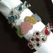 Luxury full rhinestone flower hearts bangle bracelet for women vintage cuff wrap bangle jewelry girls gift