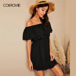 COLROVIE Black Solid Ruffle Off Shoulder Pom Pom Hem Dress Women 2019 Boho Spring Summer Glamorous Female High Waist Short Dress