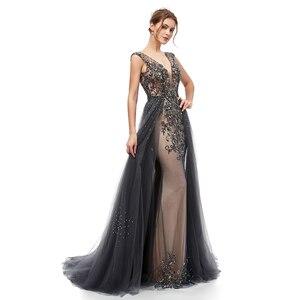 Image 3 - New Elegant Evening Dresses Long A Line Backless Tulle Floor Length Dubai Formal Party Gown Lace Applique Robe De Soiree WT5406
